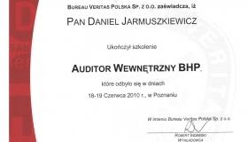 Audytor wewnętrzny BHP - Daniel Jarmuszkiewicz